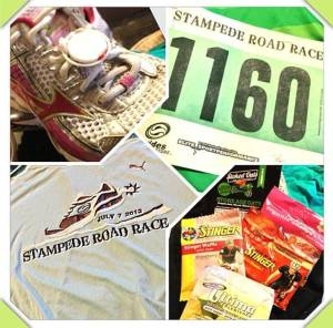 Stampede Road Race participant's package swag! Thanks for the good stuff!