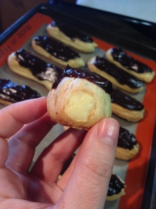 eclairs and one taste teseter cream puff. yes, please!