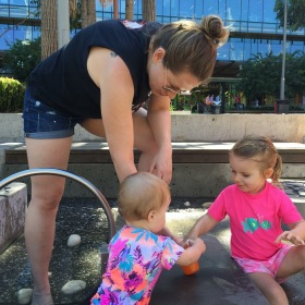 Playing with the girls at Darling Harbour!